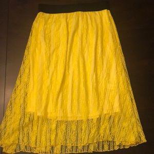 Canary Yellow Lace LulaRoe Skirt